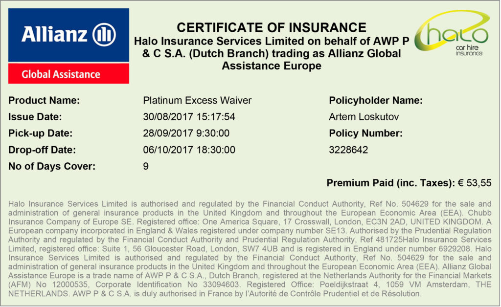 Car rent insurance